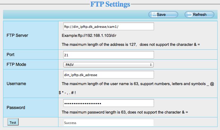 FTP indstillinger Foscam MPEG kamera